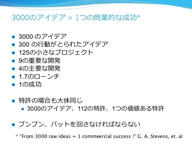 3000のアイデア = 1つの商業的な成功*    l 3000 のアイデア  l 300 の⾏行行動がとられたアイデア  l 125の⼩小さなプロジェクト  l 9の重要な開発  l 4の主要な開発  l 1.7のローンチ  l...