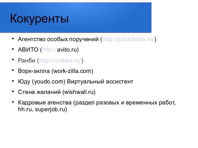 Кокуренты   Агентство особых поручений (http://porucheno.ru/)   АВИТО (http://avito.ru)   Ранби (http://runbee.ru/)   ...
