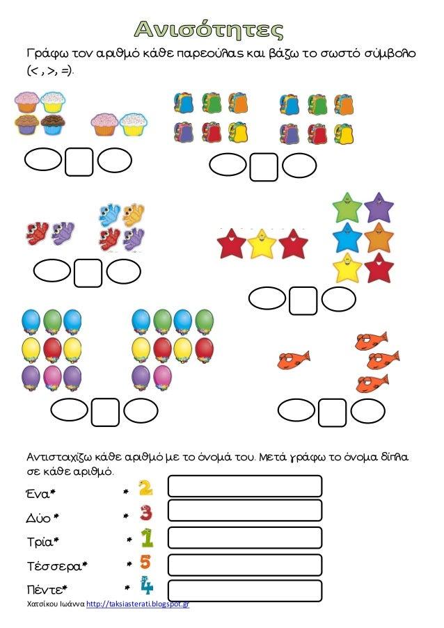 Χατσίκου Ιωάννα http://taksiasterati.blogspot.gr  Γράφω τον αριθμό κάθε παρεούλας και βάζω το σωστό σύμβολο (< , >, =).  Α...