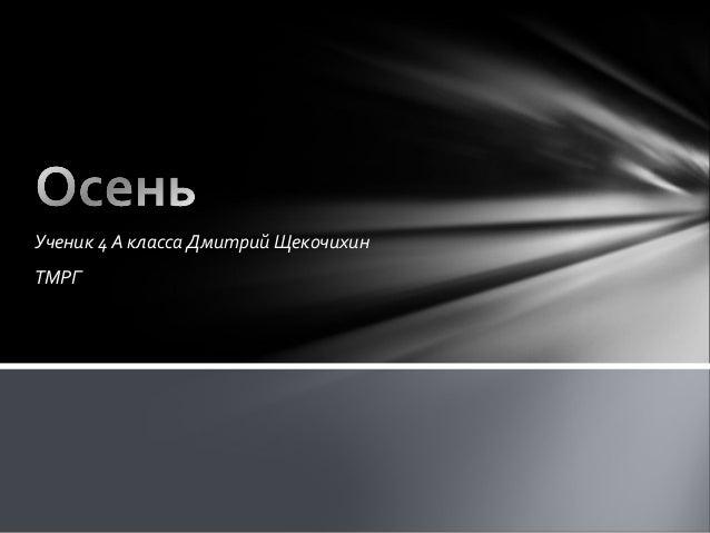 Ученик 4 А класса Дмитрий Щекочихин  ТМРГ