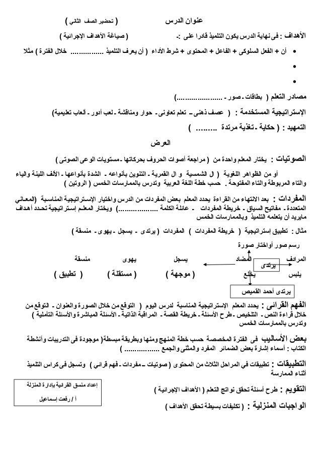تحضير اللغة العربية الصف الثانى والثالث الإبتدائى ترم أول من إعداد