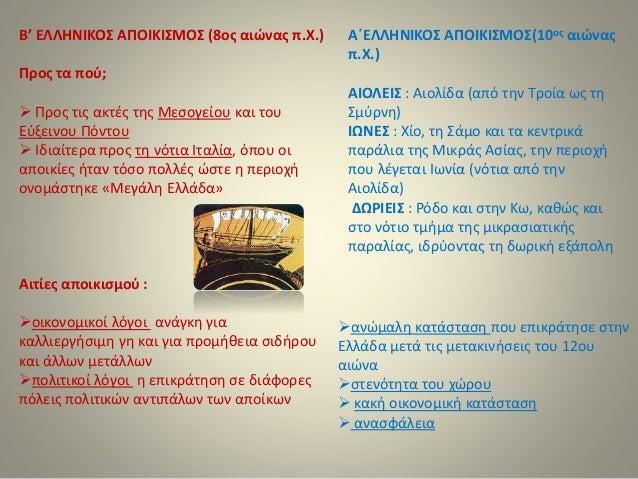 Β' ΕΛΛΗΝΙΚΟΣ ΑΠΟΙΚΙΣΜΟΣ (8ος αιώνας π.Χ.)  Προς τα πού;   Προς τις ακτές της Μεσογείου και του  Εύξεινου Πόντου   Ιδιαίτ...