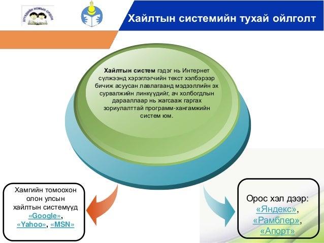 Хайлтын системийн тухай ойлголт  Хамгийн томоохон  олон улсын  хайлтын системүүд  «Google»,  «Yahoo», «MSN»  Хайлтын систе...