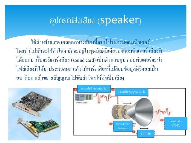 อุปกรณ์ส่งเสียง (speaker)  ใช้สาหรับแสดงผลออกทางเสียงที่จากโปรแกรมคอมพิวเตอร์  โดยทั่วไปมักจะใช้ลา โพง มักจะอยู่ในชุดมัลติ...