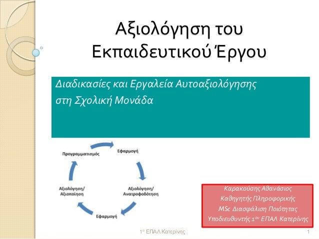 Αξιολόγηση του Εκπαιδευτικού Έργου  Διαδικασίες και Εργαλεία Αυτοαξιολόγησης  στη Σχολική Μονάδα  1ο ΕΠΑΛ Κατερίνης  1  Κα...