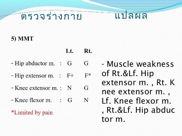 ตรวจร่างกาย แปลผล  7) วัดความยาวขา  - วัดจาก ASIS ถึง  Medial malleolus  Lt. = 83 cm.  Rt. = 82 cm.  - วัดจากขอบบนของ  Pat...