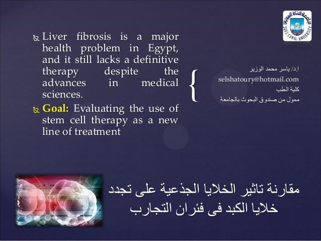 {  Liver fibrosis is a major health problem in Egypt, and it still lacks a definitive therapy despite the advances in med...