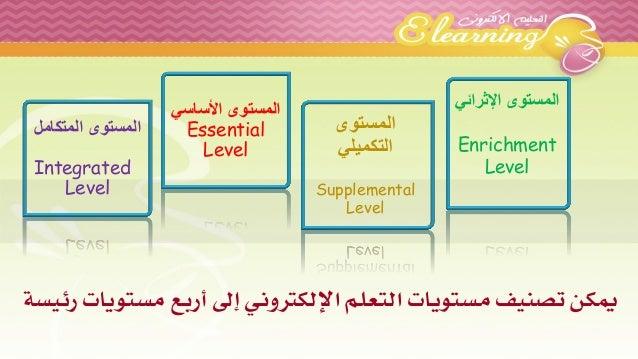 المستوى الأساسي  Essential Level  المستوى  التكميلي  Supplemental Level  المستوى الإثرائي  EnrichmentLevel  يمكن تصنيف مست...