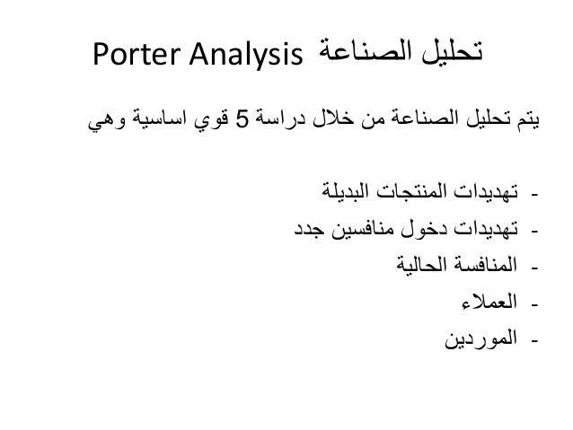 Porter Analysis تحليل الصناعة  يتم تحليل الصناعة من خلال دراسة 5 قوي اساسية وهي  - تهديدات المنتجات البديلة  - تهديدات دخو...
