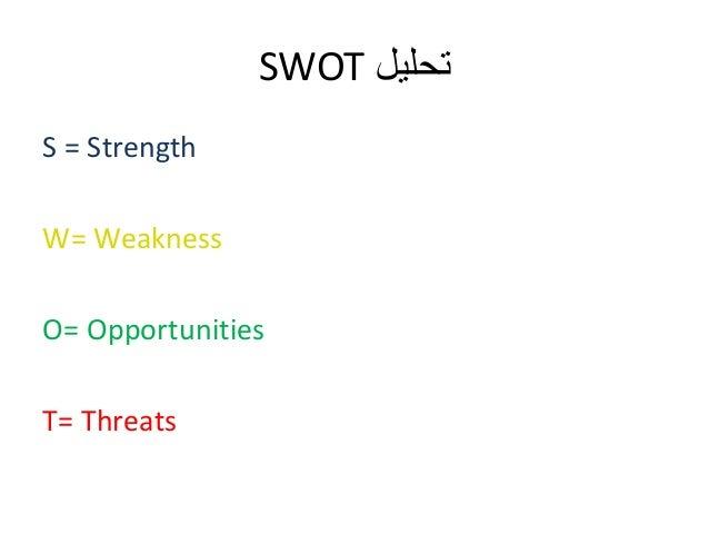 SWOT تحليل  S = Strength  W= Weakness  O= Opportunities  T= Threats