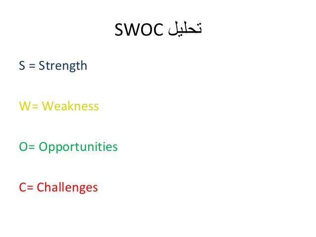 SWOC تحليل  S = Strength  W= Weakness  O= Opportunities  C= Challenges