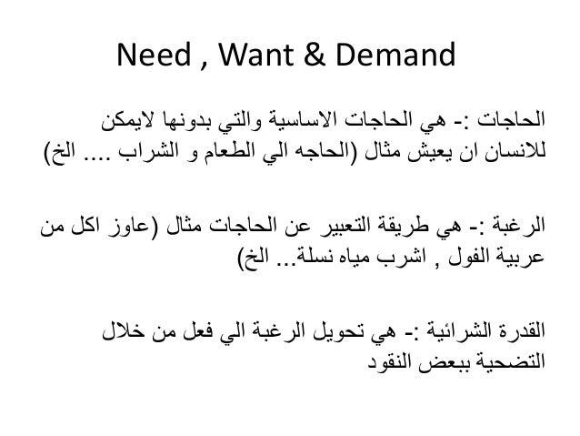 Need , Want & Demand  الحاجات :- هي الحاجات الاساسية والتي بدونها لايمكن  للانسان ان يعيش مثال )الحاجه الي الطعام و الشراب...