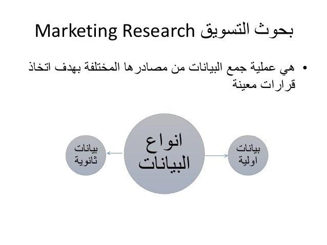Marketing Research بحوث التسويق  • هي عملية جمع البيانات من مصادرها المختلفة بهدف اتخاذ  قرارات معينة  انواع  البيانات  بي...