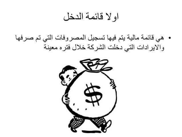 اولا قائمة الدخل  • هي قائمة مالية يتم فيها تسجيل المصروفات التي تم صرفها  والايرادات التي دخلت الشركة خلال فتره معينة