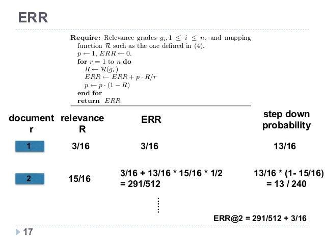 新技術研究会 ERR 算出例 17 relevance  R 3/16 15/16 document r 1 2 Algorithm 2 Algorithm to compute the ERR metric (5) in linear ti...