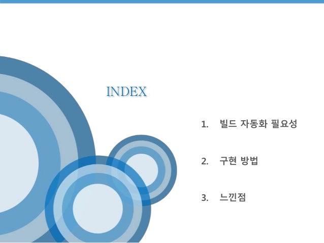INDEX  1. 빌드 자동화 필요성  2. 구현 방법  3. 느낀점