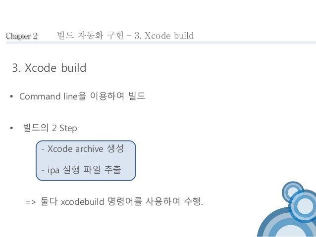 Chapter 2  빌드 자동화 구현 – 3. Xcode build  3. Xcode build   Command line을 이용하여 빌드   빌드의 2 Step  - Xcode archive 생성  - ipa 실행...