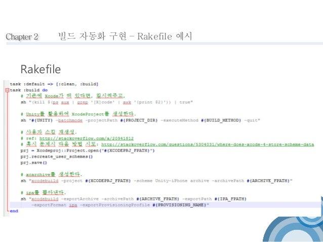 Chapter 2  빌드 자동화 구현 – Rakefile 예시  Rakefile