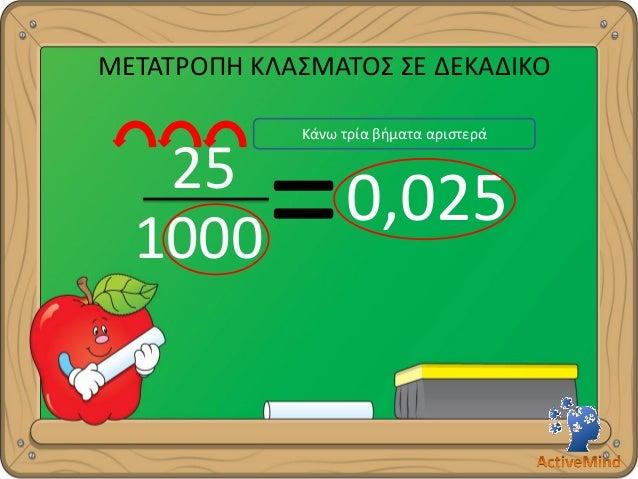 ΜΕΤΑΤΡΟΠΗ ΚΛΑΣΜΑΤΟΣ ΣΕ ΔΕΚΑΔΙΚΟ  =  25  1000  0,025  Κάνω τρία βήματα αριστερά