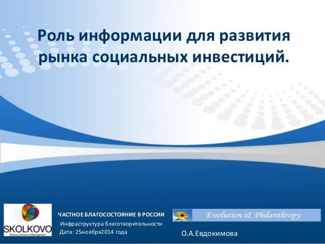 Роль информации для развития рынка социальных инвестиций.  ЧАСТНОЕ БЛАГОСОСТОЯНИЕ В РОССИИ  Инфраструктура благотворительн...