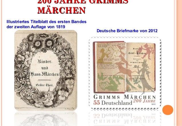 220000 JJAAHHRREE GGRRIIMMMMSS  MMÄÄRRCCHHEENN  Deutsche Briefmarke von 2012  Illustriertes Titelblatt des ersten Bandes  ...