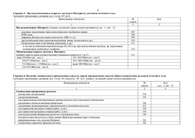 4  Справка 3. Вид подключения и скорость доступа к Интернету, на конец отчетного года  (заполняют организации, указавшие к...