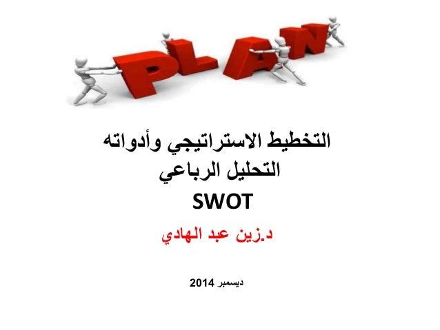 التخطيط الاستراتيجي وأدواته  التحليل الرباعي  SWOT  د.زين عبد الهادي  ديسمبر 2014