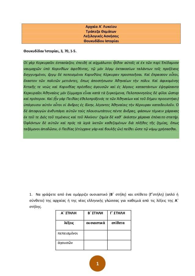 1 Αρχαία Α΄ Λυκείου Τράπεζα Θεμάτων Λεξιλογικές Ασκήσεις Θουκυδίδου Ιστορίαι Θουκυδίδου Ἱστορίαι, 3, 70, 1-5. Οἱ γὰρ Κερκυ...