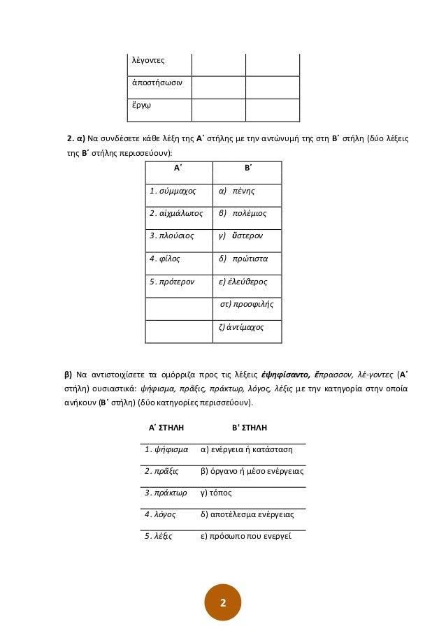 2 λέγοντες ἀποστήσωσιν ἔργῳ 2. α) Να συνδέσετε κάθε λέξη της Α΄ στήλης με την αντώνυμή της στη Β΄ στήλη (δύο λέξεις της Β΄...