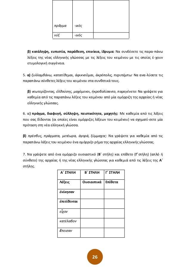 26 πρᾶγμα -ικός νύξ -ινός β) κατάληψη, ευπιστία, παράθεση, επινίκια, ίδρυμα: Να συνδέσετε τις παρα-πάνω λέξεις της νέας ελ...