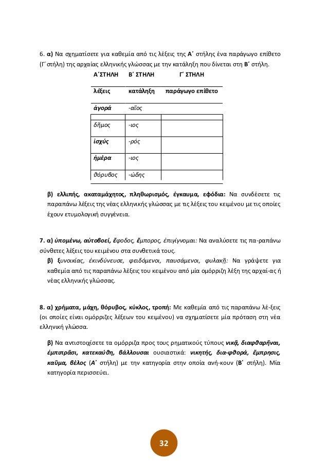 32 6. α) Να σχηματίσετε για καθεμία από τις λέξεις της Α΄ στήλης ένα παράγωγο επίθετο (Γ΄στήλη) της αρχαίας ελληνικής γλώσ...