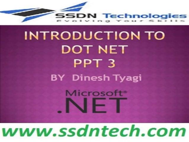 Dot Net course introduction Part 3
