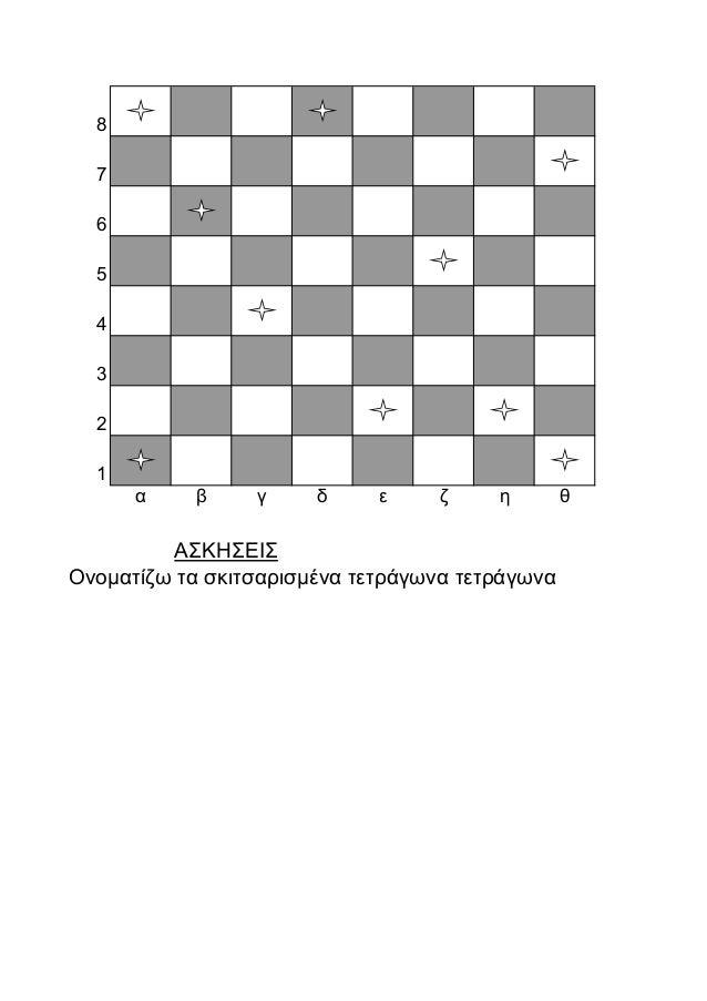 8 7 6 5 4 3 2 1 α β γ δ ε ζ η θ ΑΣΚΗΣΕΙΣ Ονοματίζω τα σκιτσαρισμένα τετράγωνα τετράγωνα