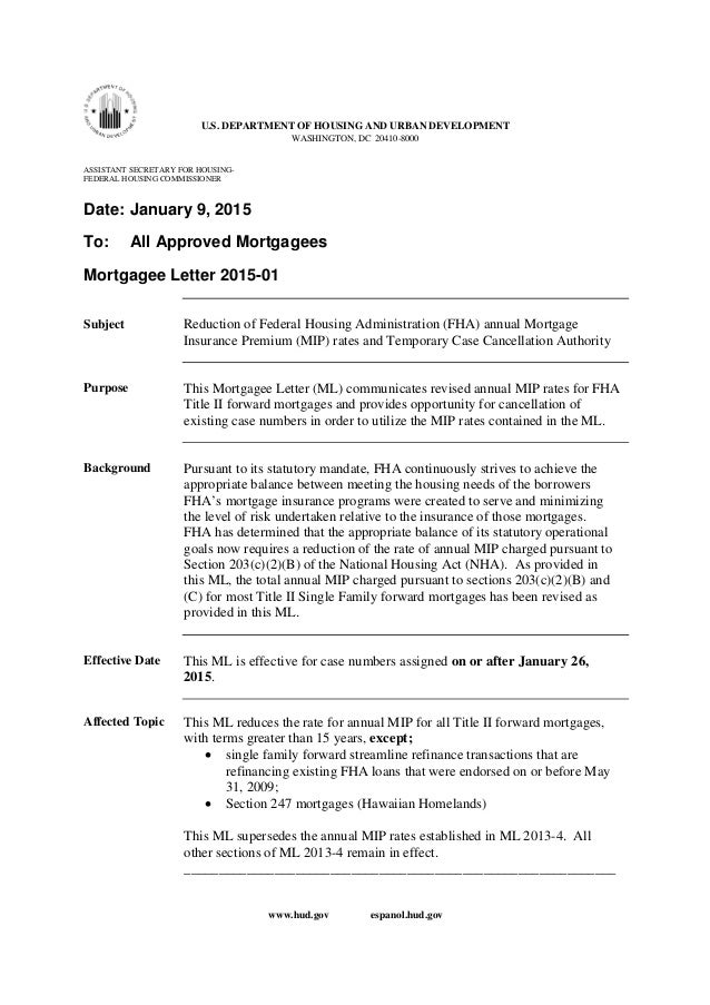 85 Mortgage Insurance Fha Drop January 2015 Obama