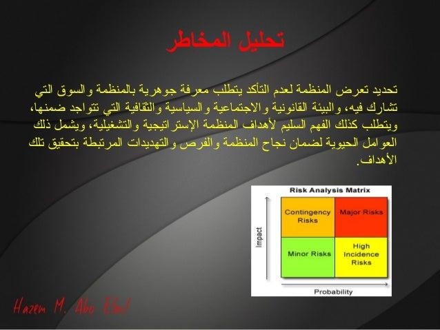 المخاطر تحليل التي والسوق بالمنظمة جوهرية معرفة يتطلب التأكد لعدم المنظمة تعرض تحديد ،ضمنها ت...