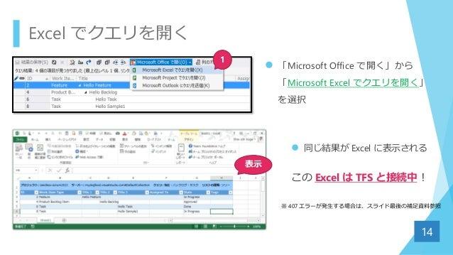 Excel でクエリを開く  「Microsoft Office で開く」から 「Microsoft Excel でクエリを開く」 を選択 14 1 表示  同じ結果が Excel に表示される この Excel は TFS と接続中! ※...