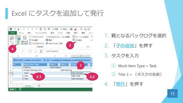 Excel にタスクを追加して発行 1. 親となるバックログを選択 2. 「子の追加」を押す 3. タスクを入力 ① Work Item Type = Task ② Title 3 = (タスクの名前) 4. 「発行」を押す 15 1 2 3....