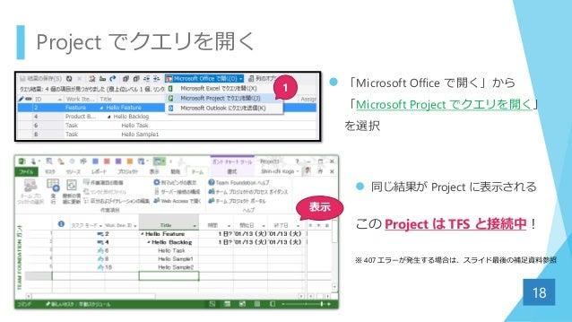  「Microsoft Office で開く」から 「Microsoft Project でクエリを開く」 を選択 Project でクエリを開く 18 1 表示  同じ結果が Project に表示される この Project は TFS...