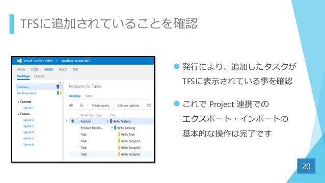 TFSに追加されていることを確認  発行により、追加したタスクが TFSに表示されている事を確認  これで Project 連携での エクスポート・インポートの 基本的な操作は完了です 20