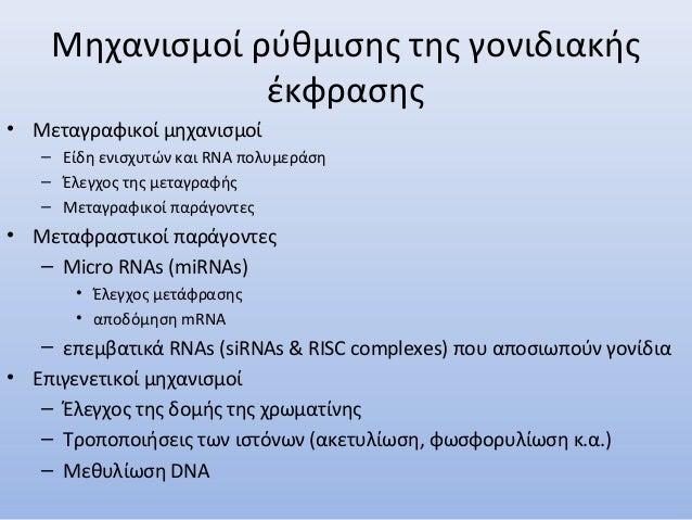 Μηχανισμοί ρύθμισης της γονιδιακής έκφρασης • Μεταγραφικοί μηχανισμοί – Είδη ενισχυτών και RNA πολυμεράση – Έλεγχος της με...