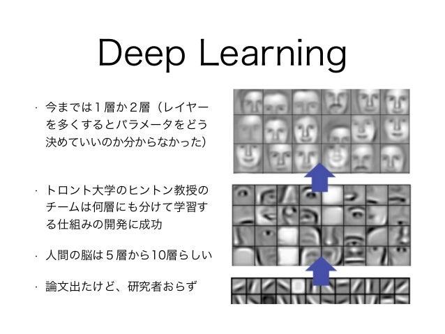 Deep Learning • 今までは1層か2層(レイヤー を多くするとパラメータをどう 決めていいのか分からなかった) • トロント大学のヒントン教授の チームは何層にも分けて学習す る仕組みの開発に成功 • 人間の脳は5層から10層らしい...