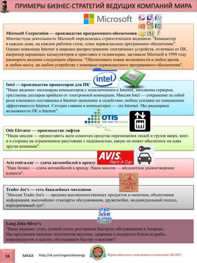 Microsoft Corporation — производство программного обеспечения Многие годы деятельность Microsoft определялась стратегическ...