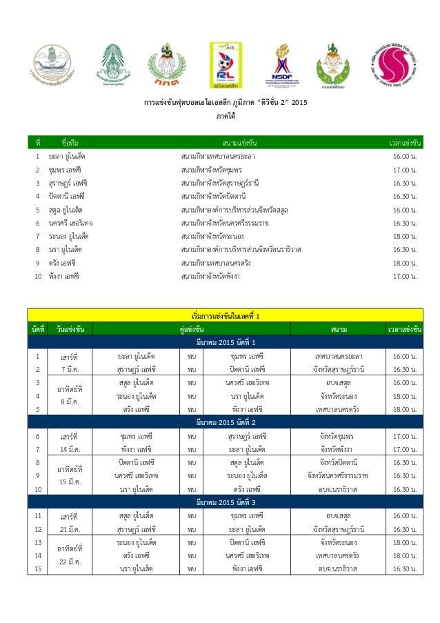ที่ ชื่อทีม เวลาแข่งขัน 1 16.00 น. 2 17.00 น. 3 16.30 น. 4 16.30 น. 5 16.00 น. 6 16.30 น. 7 18.00 น. 8 16.30 น. 9 18.00 น....