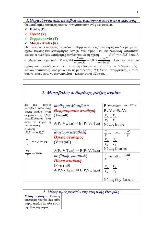 1.Θερμοδυναμικές μεταβλητές αερίου-καταστατική εξίσωση Οι μεταβλητές που περιγράφουν την κατάσταση ενός αερίου είναι :  Π...