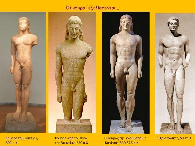 Ο κούρος της Αναβύσσου ή 'Κροίσος', 530-525 π.Χ. Κούρος από το Πτώο της Βοιωτίας, 550 π.Χ. Οι κούροι εξελίσσονται... Ο Αρι...
