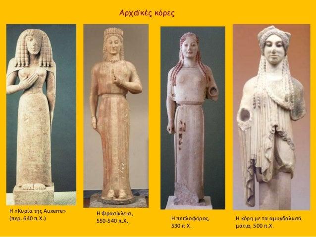 Αρχαϊκές κόρες Η «Κυρία της Auxerre» (περ. 640 π.Χ.) Η Φρασίκλεια, 550-540 π.Χ. Η κόρη με τα αμυγδαλωτά μάτια, 500 π.Χ. Η ...