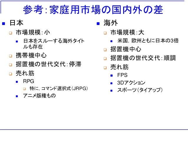 参考:家庭用市場の国内外の差  日本  市場規模:小  日本をスルーする海外タイト ルも存在  携帯機中心  据置機の世代交代:停滞  売れ筋  RPG  特に,コマンド選択式(JRPG)  アニメ版権もの  海外  市場...