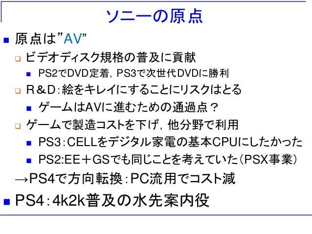 """ソニーの原点  原点は""""AV""""  ビデオディスク規格の普及に貢献  PS2でDVD定着,PS3で次世代DVDに勝利  R&D:絵をキレイにすることにリスクはとる  ゲームはAVに進むための通過点?  ゲームで製造コストを下げ,他分野..."""