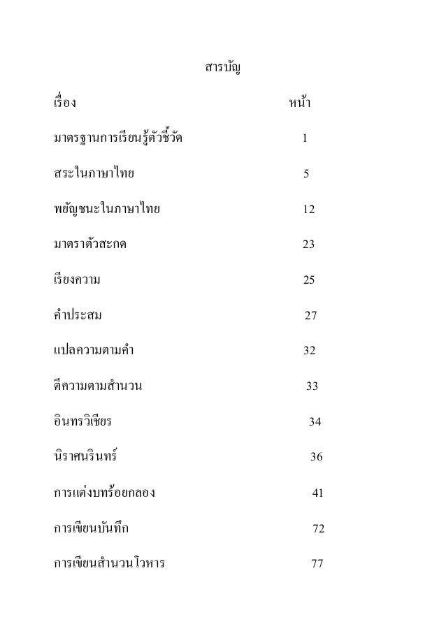 สารบัญ เรื่อง หน้า มาตรฐานการเรียนรู้ตัวชี้วัด 1 สระในภาษาไทย 5 พยัญชนะในภาษาไทย 12 มาตราตัวสะกด 23 เรียงความ 25 คาประสม 2...
