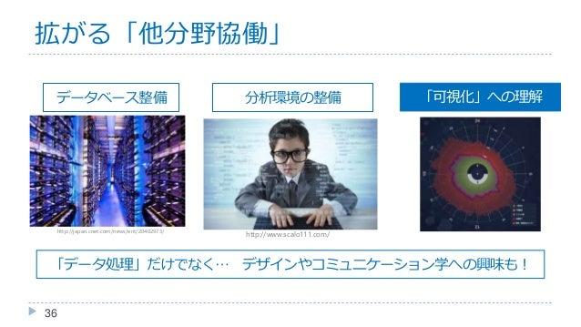 36 データベース整備 分析環境の整備 http://japan.cnet.com/news/ent/20402973/ http://www.scalo111.com/ 「可視化」への理解 「データ処理」だけでなく… デザインやコミュニケーシ...
